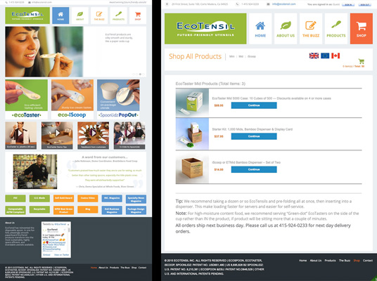 WordPress site with cart for EcoTensil
