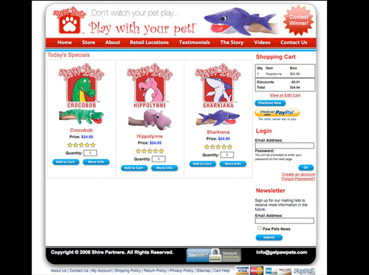 Website with cart for Paw Pets