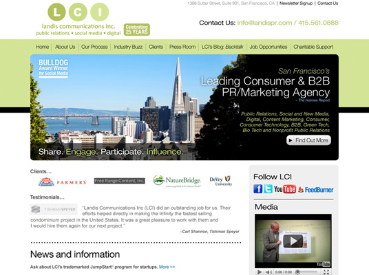 Website and blog for Landis Communications Inc.