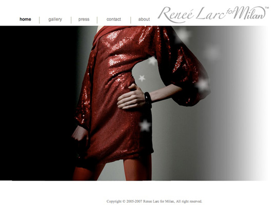 Website for fashion brand Reneé Larc For Milan In 2005